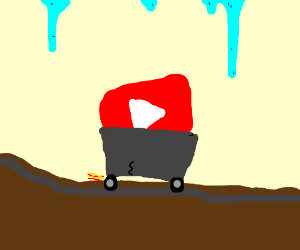 Youtube logo in a minecart