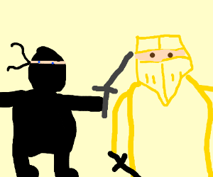 ninja goes in to assassinate gold knight
