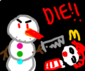 Snowman and clown fight to the death