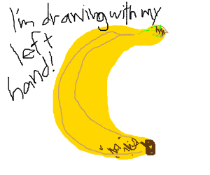 Someone draws a banana with their left hand.