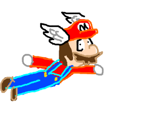 Mario trys to fly