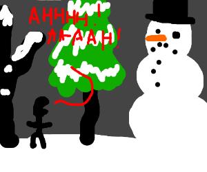 Man screams at huge snowman