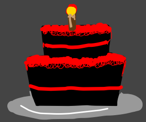 Please enjoy this black and red birthday cake?