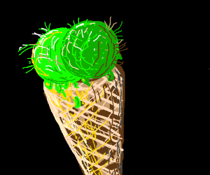 Hairy green ice cream in a cone