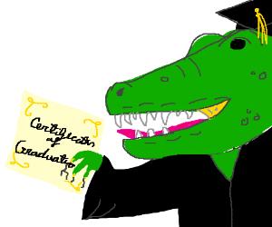 A dinosaur graduating.