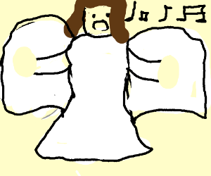 angelic woman (maybe mercy) singing