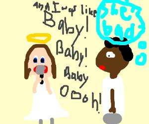 angel lady singing badly