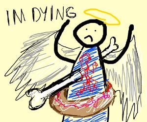 A bone murdering a rainbow angel donut