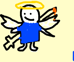 An angel getting stabbed