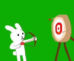 Cute bunny kid practicing bow & arrow shooting