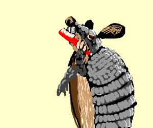 Rabid armadillo brushing his teeth