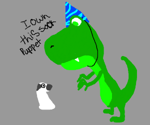 Birthday Dino Claims Ownership of Sock Puppet