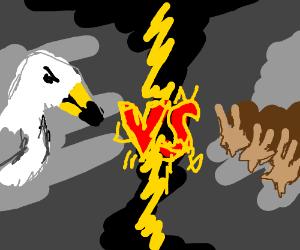 seagull vs 3 snails