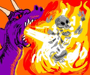 Purple dragon burning a skeleton