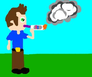 Man smokes pregnancy test.