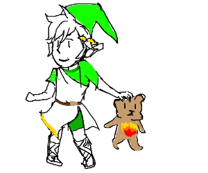 Link & Pit's baby has a fire teddy bear