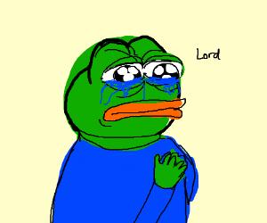 Pepe The Meme Frog Crying While Praying