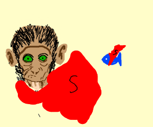 Monkey and blue fish are super heroes