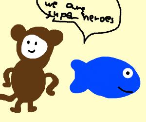 super monkey and super fish super heroes