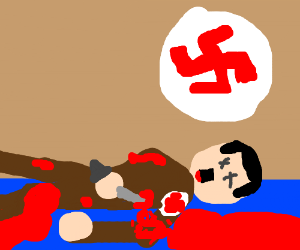 Adolf Hitler commits suicide, blood everywhere