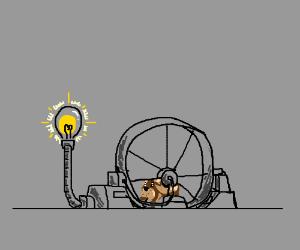 Hamster running to power lights