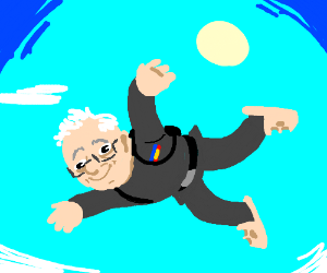 Grand Moff Bernie skydives w/ crocs
