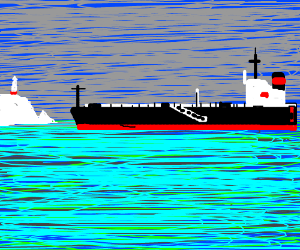 a ship heading towards an iceberg