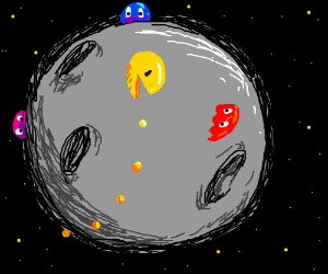 Packman and ghost perform experiment on moon