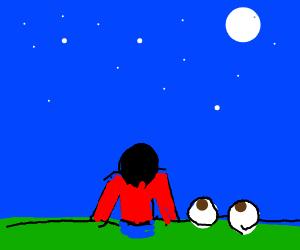 Big Eyeballs and a guy look at night sky