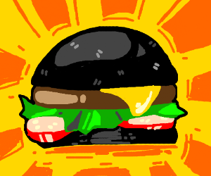 hamburger with black buns