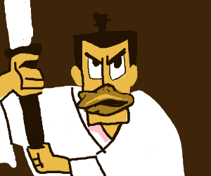 Samurai Jack with a duck beak