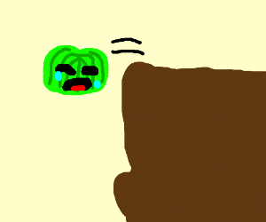 Sad Jello Man jumps off cliff.