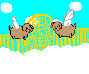 two dogs in heaven with wings