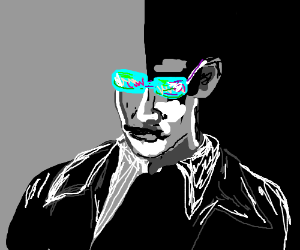 Guy with trippy glasses