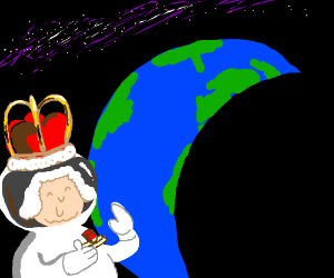 Old lady queen wants to destroy the world.