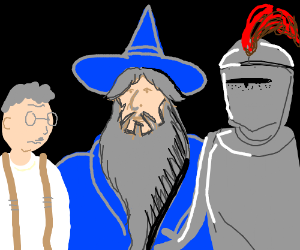 Wizard presents old man and a knight