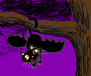 Cat-bat hanging from a branch