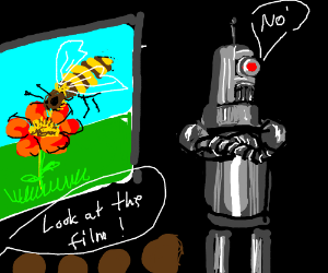 Robot refuses to watch Bee Movie