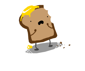 Toast with bite out of it sad.