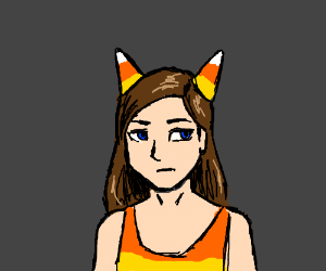 Strange woman with candy corn horns