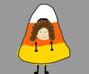 Girl dresses like candy-corn