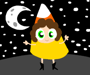 sambchop dresses as candy corn.