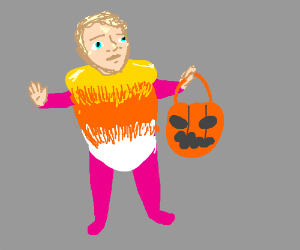 A wee child in a candy corn costume.