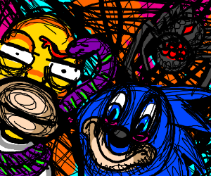 Homer, a spider, a sly purple snake, and sanic