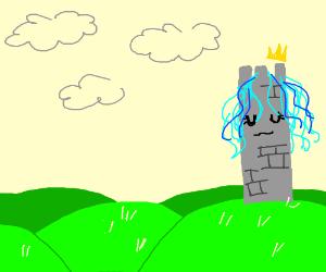 Princess (blue hair) closes eyes on tower