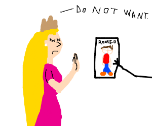 Rapunzel rejects a paper with a romeo sketch
