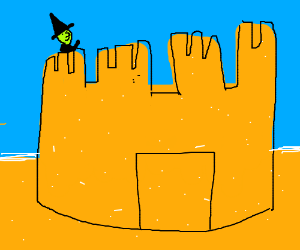 A witch in a sandcastle