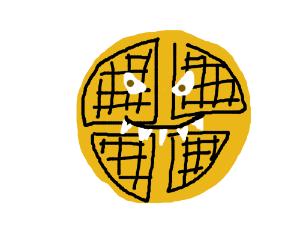 waffle with eyes and sharp teeth