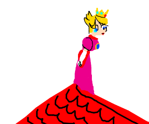 A princess (Peach?) standing on the roof.