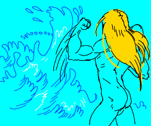 naked man with blonde hair fighting water